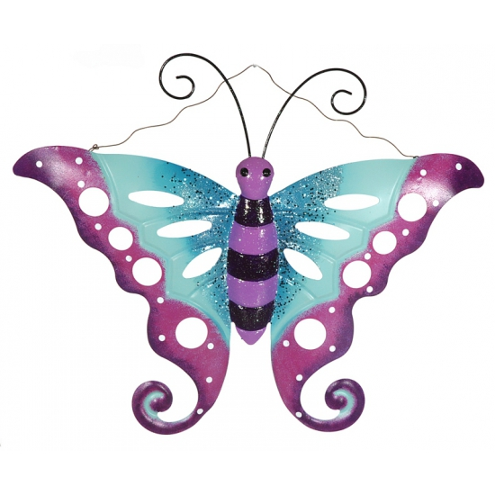 Tuin decoratie vlinder van metaal paars/blauw 41 cm