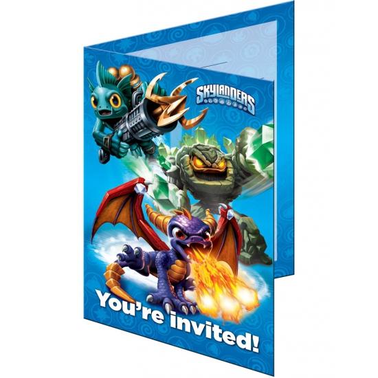 Uitnodigingen bedrukt met Skylanders 8 stuks