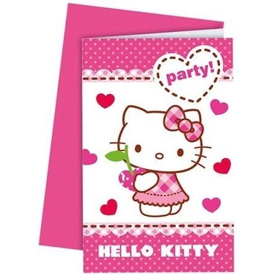 Uitnodigingen Hello Kitty van karton 6 stuks