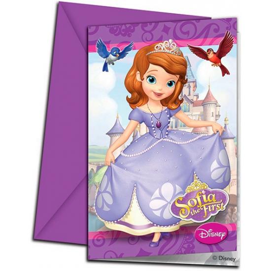 Uitnodigingen Sofia het prinsesje 6 stuks