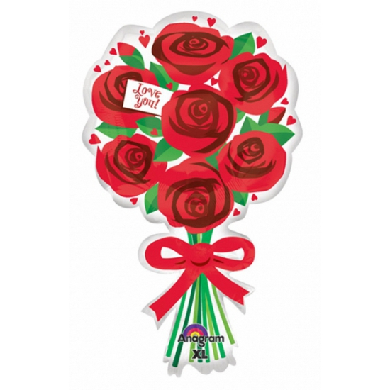 Valentijn folie ballon met rode rozen