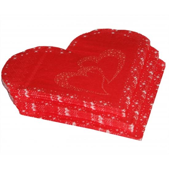 Valentijn rode hartjes servetten 20 stuks