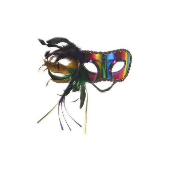 Venetiaans regenboog veren oogmasker