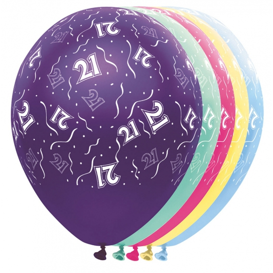 Verjaardag 21 jaar helium ballonnen