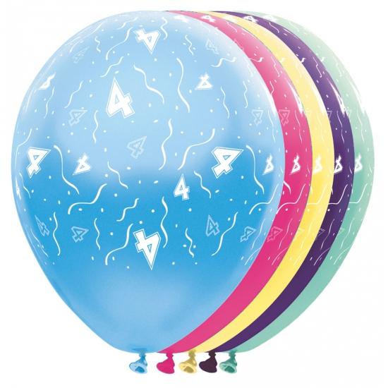 Verjaardag 4 jaar helium ballonnen