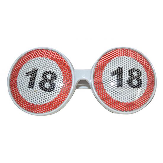 Verjaardagbril met 18 verkeersbord