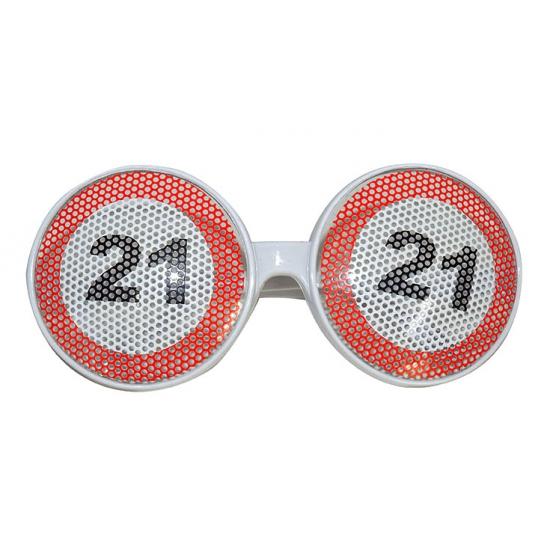 Verjaardagbril met 21 verkeersbord