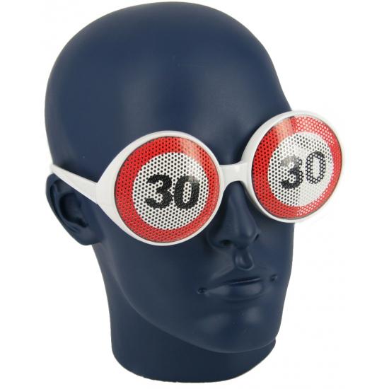 Verjaardagbril met 30 verkeersbord
