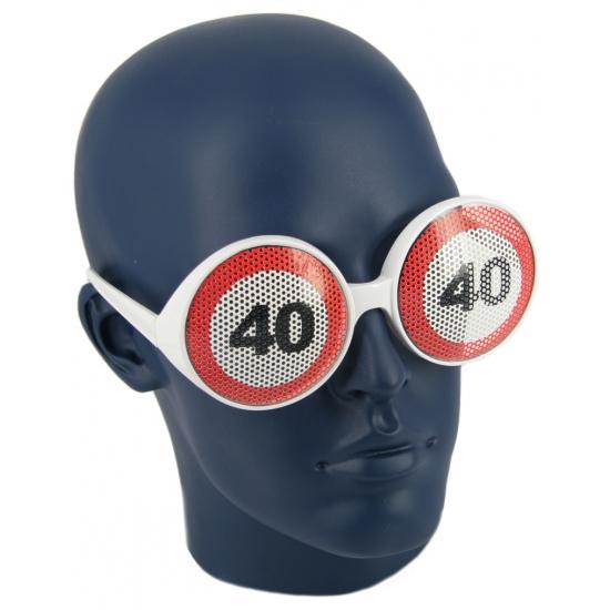 Verjaardagbril met 40 verkeersbord