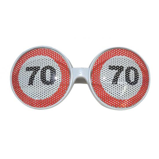 Verjaardagbril met 70 verkeersbord