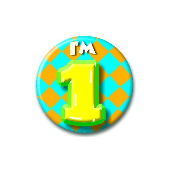 Verjaardags button I am 1
