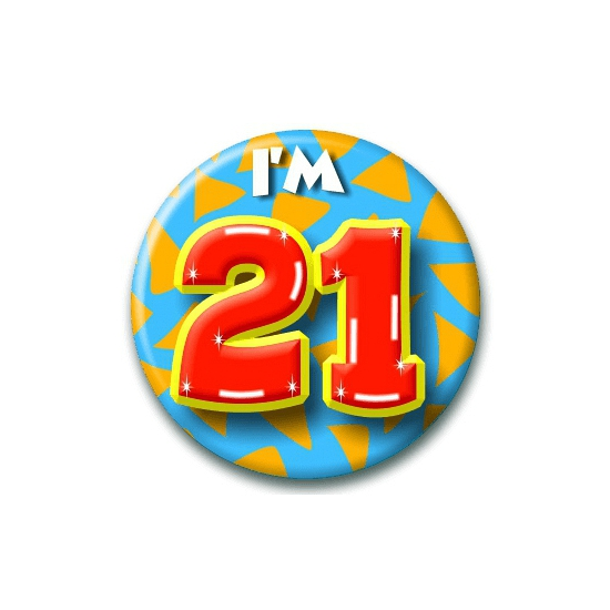 Verjaardags button I am 21