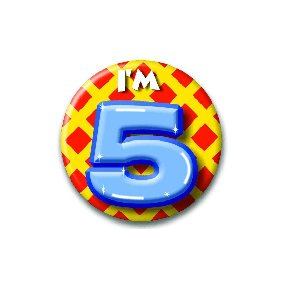 Verjaardags button I am 5