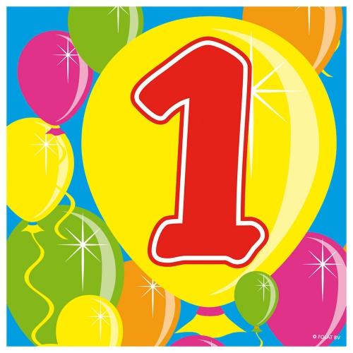 Verjaardagsversiering 1 jaar servetjes
