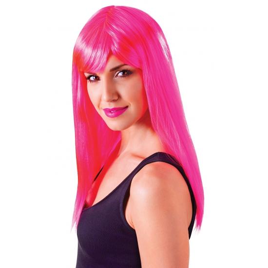 Verkleed damespruik neon roze met pony