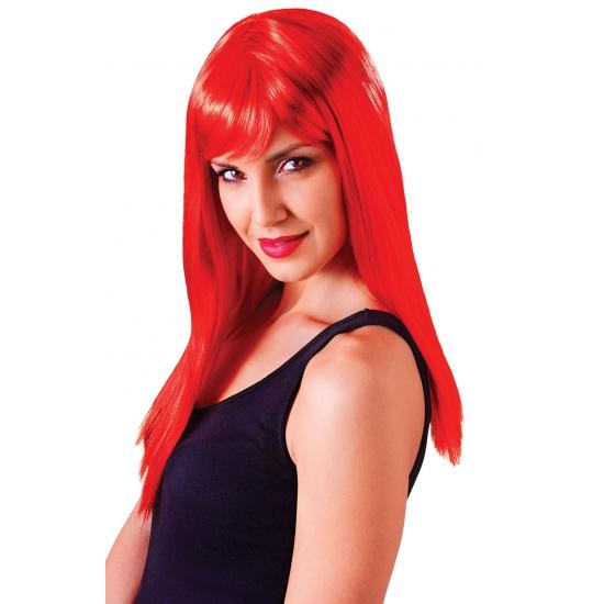 Verkleed damespruik rood met pony