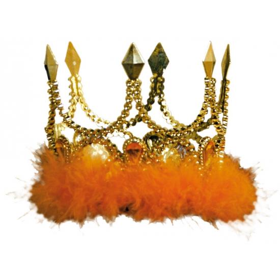 Verkleed kroon goud met oranje stenen en veren