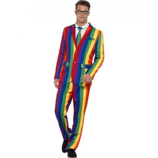 Verkleedkleding heren maatpak regenboog