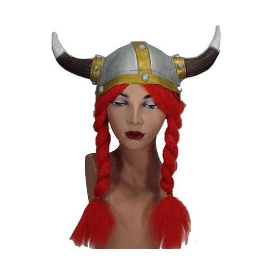Viking helm voor volwassenen met rode vlechten