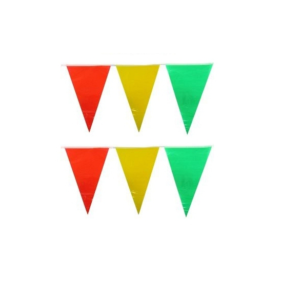 Vlaggenlijn geel/rood/groen 10 meter