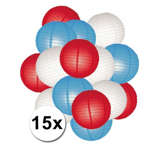 Voordeelset rood, wit en blauwe lampionnen