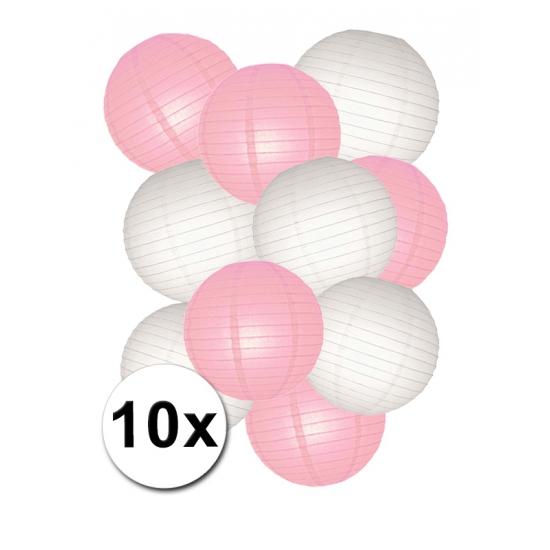 Voordeelset roze en witte lampionnen