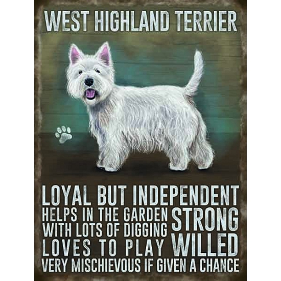 Wand bord West Higland terrier 30 x 40 cm