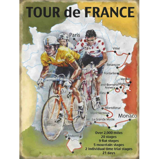 Wandplaat Tour de France route