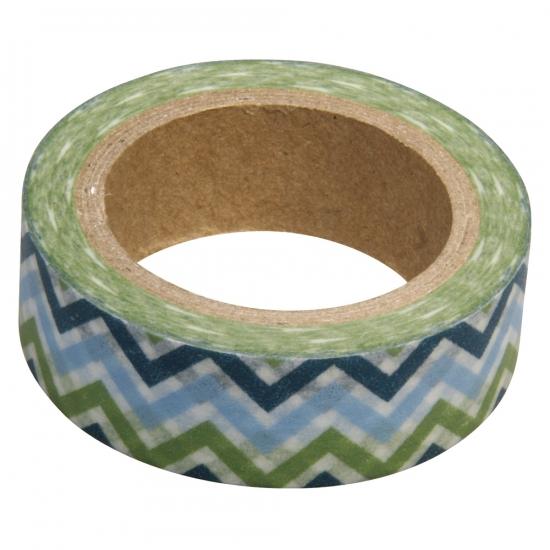 Washi tape zigzag blauw/groen