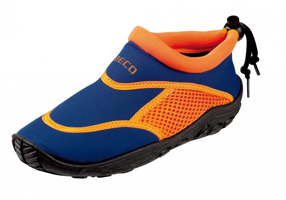 Waterschoen met anti slip zool blauw en oranje