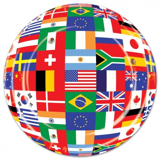 Wegwerp bordjes met internationale print