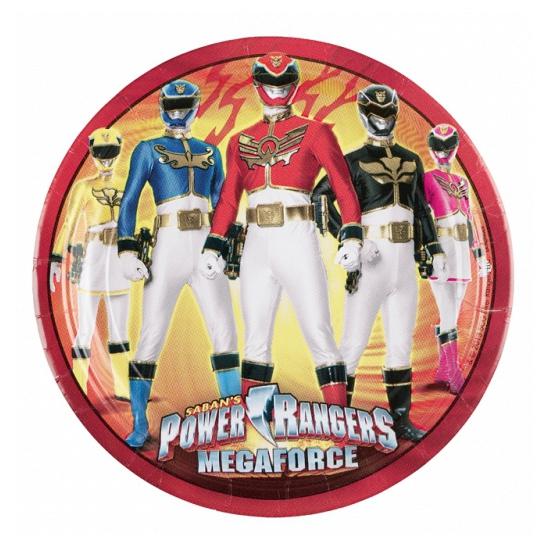 Wegwerp bordjes Power Rangers 8 stuks
