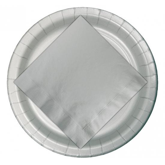 Wegwerp bordjes zilver 23 cm