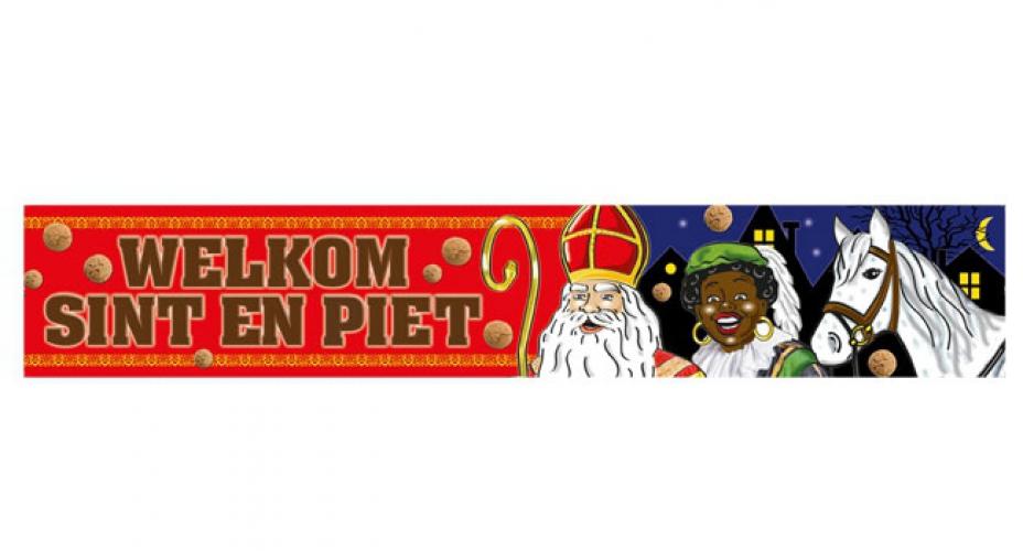 Welkom Sinterklaas en Zwarte Piet banner 360 cm