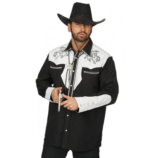 Western overhemd zwart wit