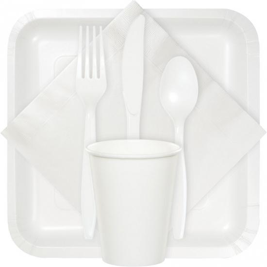 Wit bestek plastic 24 delig