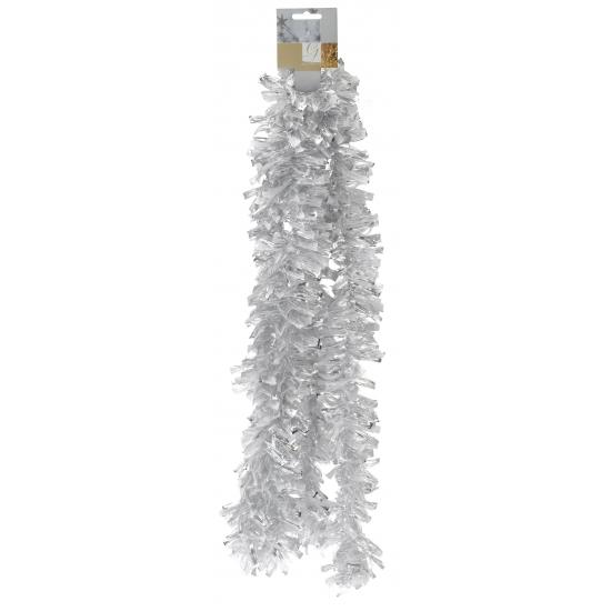 Wit met zilveren folie slinger 270 cm
