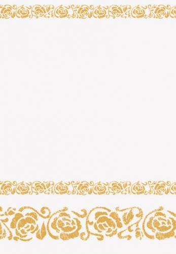Wit papieren tafelkleed met gouden roosjes