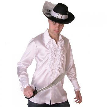 Wit piraten heren overhemd met ruches