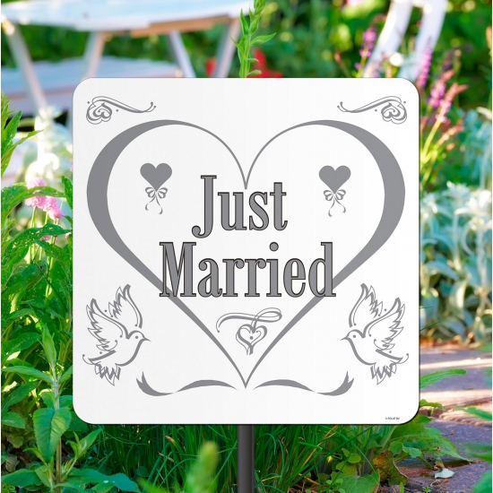 Wit tuinbord just married 44 cm