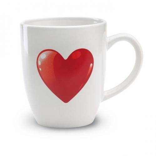 Witte beker met rood hart