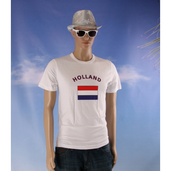Witte body fit heren shirts met vlag van Holland