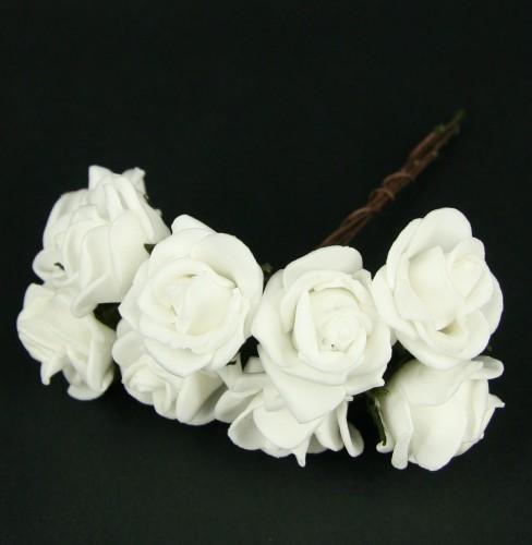 Witte decoratie roosje op draad