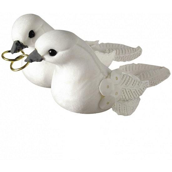 Witte duifjes met gouden ringen decoratie 5,5 cm