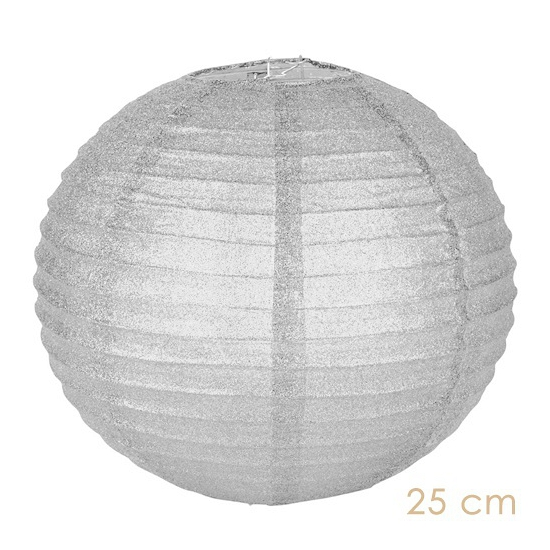 Witte glitter lampionnen 25 cm