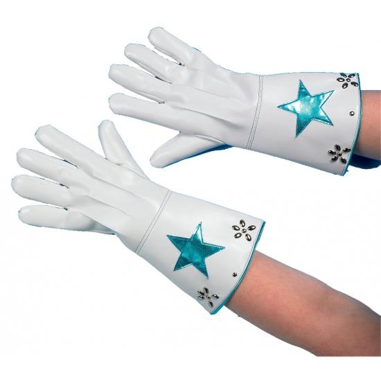 Witte handschoenen met ster en studs