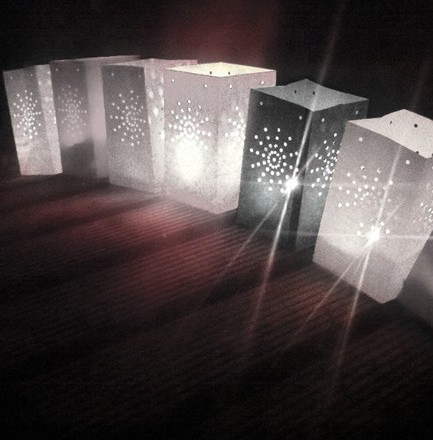 Witte lantaarn zakjes 26 cm 5 stuks