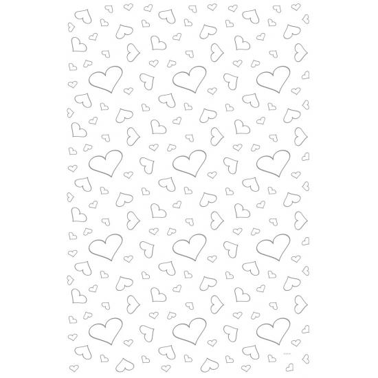 Witte loper met hartjes 4,5 x 60 cm