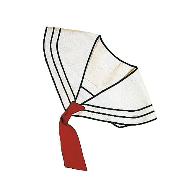 Witte matrozen kraag met rode das