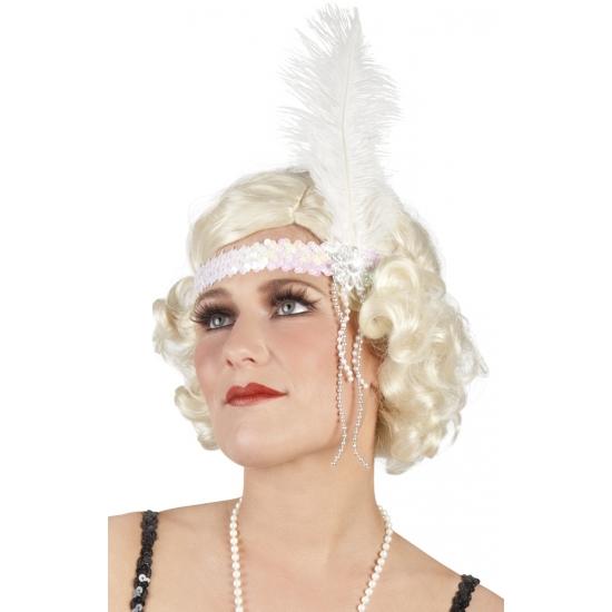 Witte pailletten hoofdband met veer